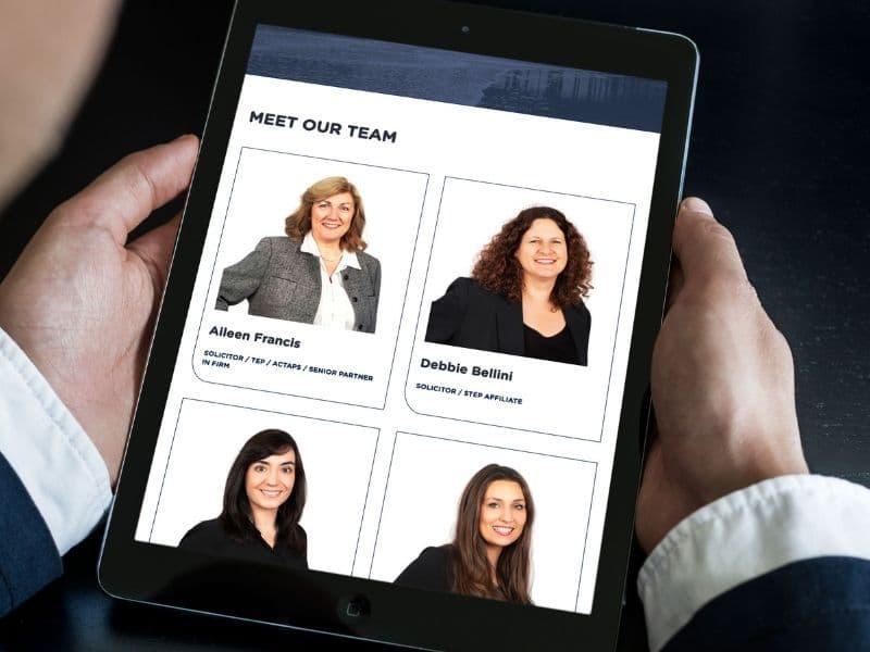 Percy Walker Solicitors iPad mockup