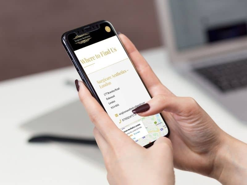 Surgicare Aesthetics iPhone mockup