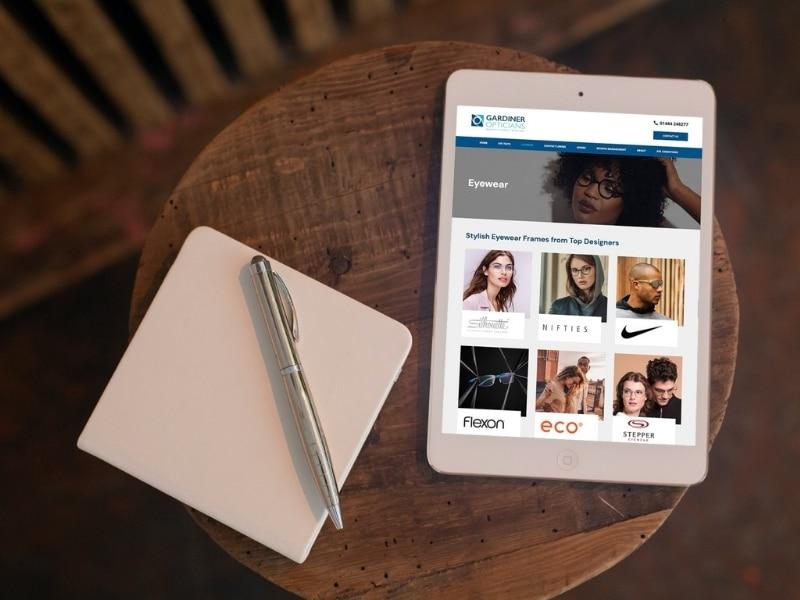 Gardiner Opticians iPad mockup