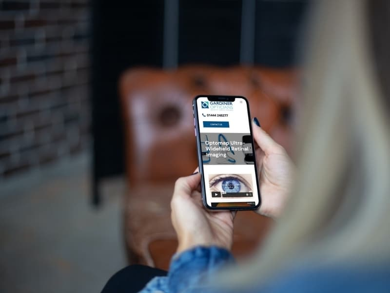 Gardiner Opticians phone mockup