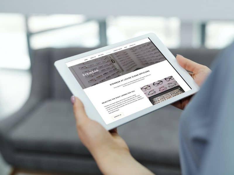 Louise Sloan Opticians iPad mockup